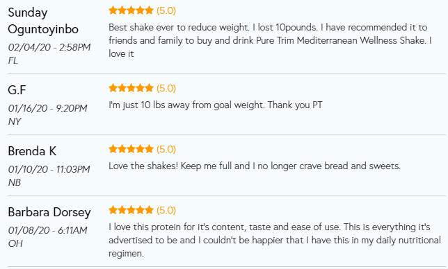 pure trim shake reviews