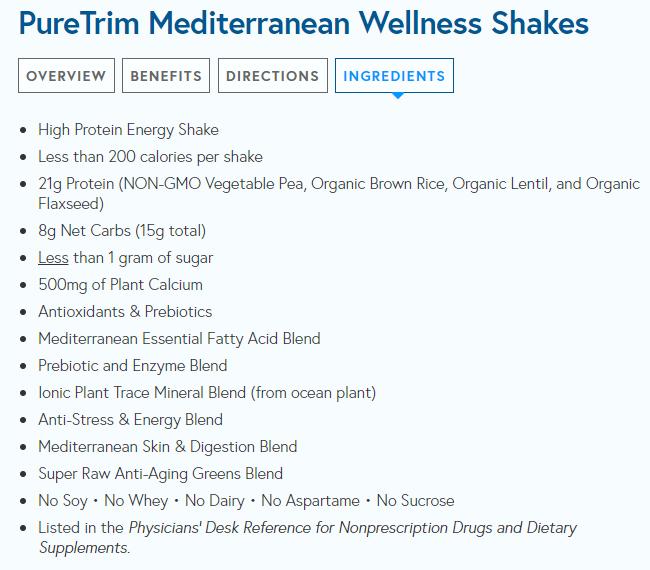 pure trim ingredients